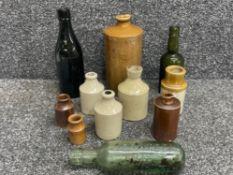 Mixed vintage bottles including Doulton Lambeth