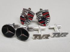 3 pairs of cufflinks in the style of Porsche, Mercedes & TVR