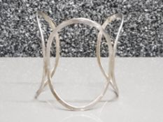 Silver triple circle bangle, 12.1g