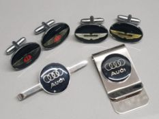2 pairs of cufflinks in the style of Aston Martin and Bentley plus 2 x Audi clips