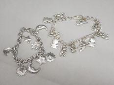 2 silver plated charm bracelets
