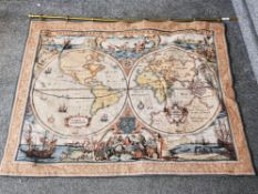 A tapestry wall hanging depicting the world on two globes 82 x 105cm.