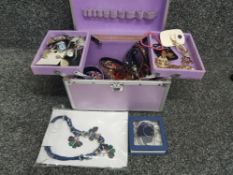 Cantilever jewellery box containing miscellaneous pieces of costume jewellery including bangles,