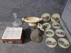Glass decanter and a set of six tumblers, two tweed flat caps, eight glass place mats depicting
