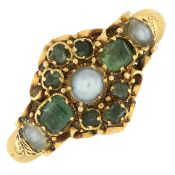 A mid 19th century 18ct gold emerald and split pearl ring.Hallmarks for Birmingham, 1867.