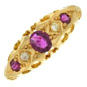 An early 20th century 18ct gold ruby and diamond ring.Hallmarks for Birmingham, 1914.