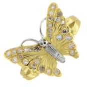 A brilliant and single-cut diamond butterfly ring.Estimated total diamond weight 0.10ct.Ring size