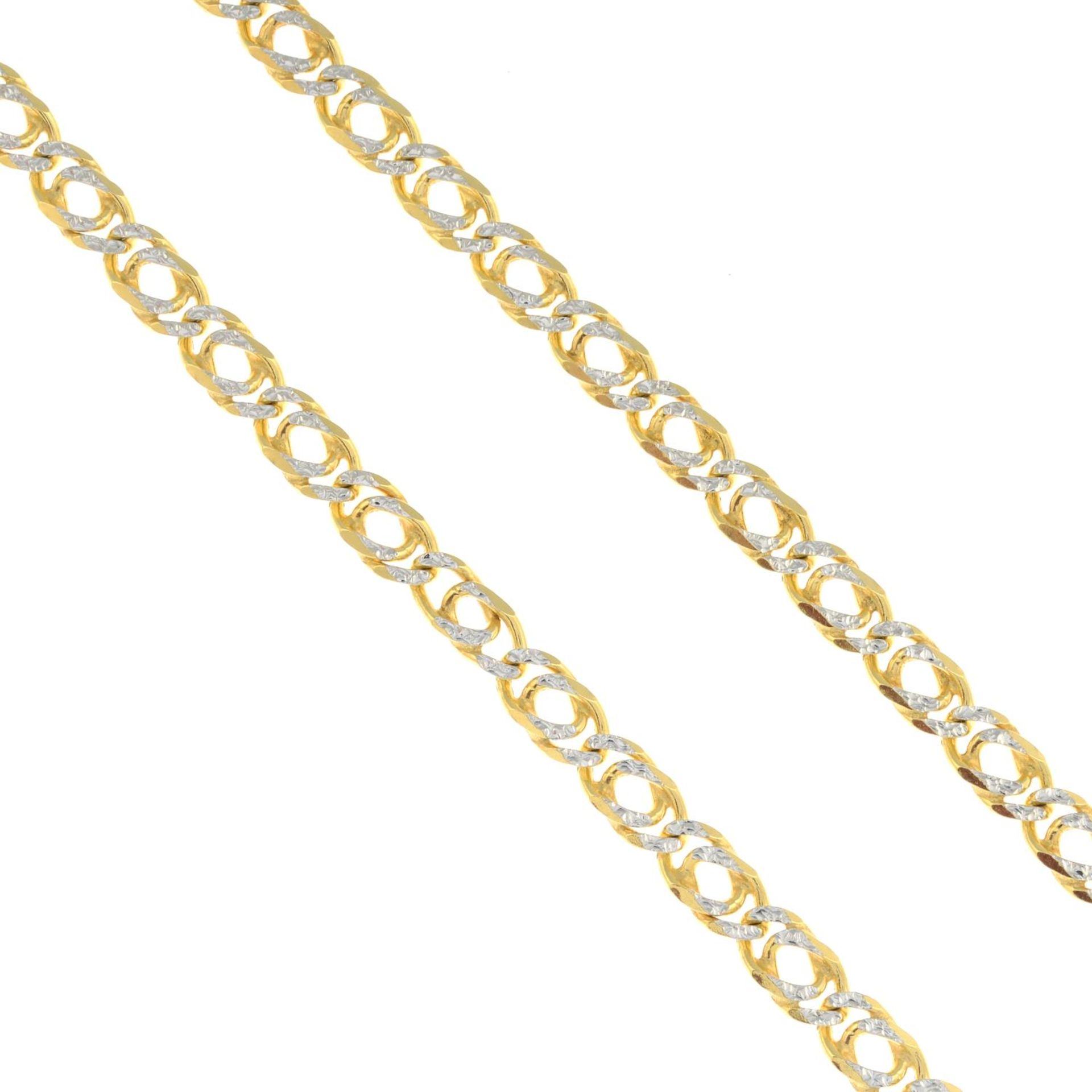 A 9ct gold bi-colour curb-link chain.Hallmarks for 9ct gold.
