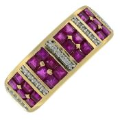 A 14ct gold ruby and diamond ring.Hallmarks for Sheffield.Ring size O.