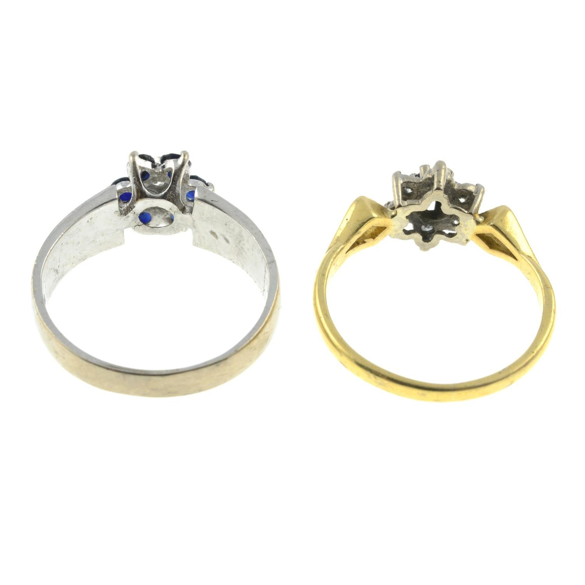 Two 18ct gold sapphire and diamond rings.18ct gold diamond and sapphire cluster ring, - Image 2 of 2