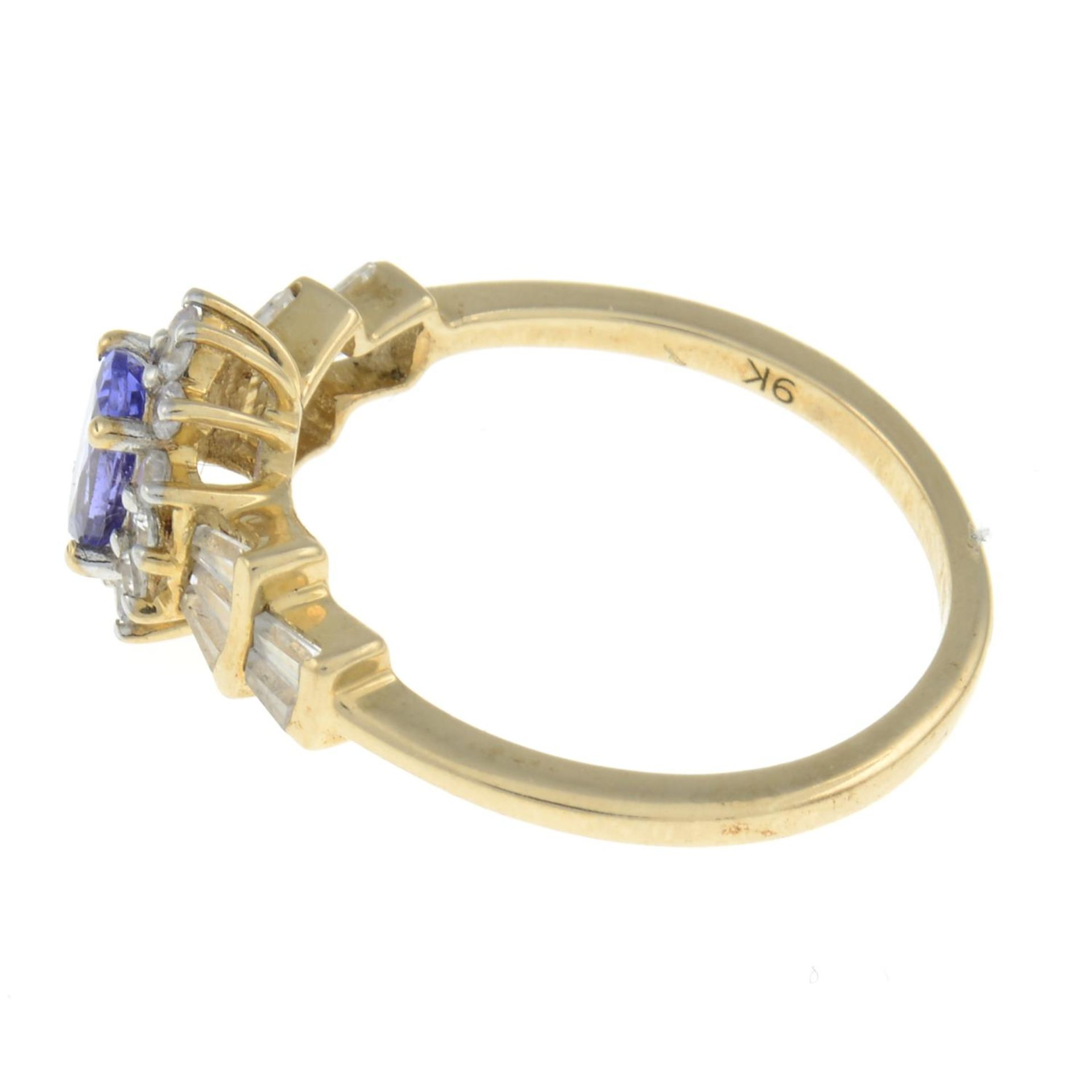 A 9ct gold tanzanite and diamond ring.Estimated total diamond weight 0.1ct.Hallmarks from - Image 2 of 3