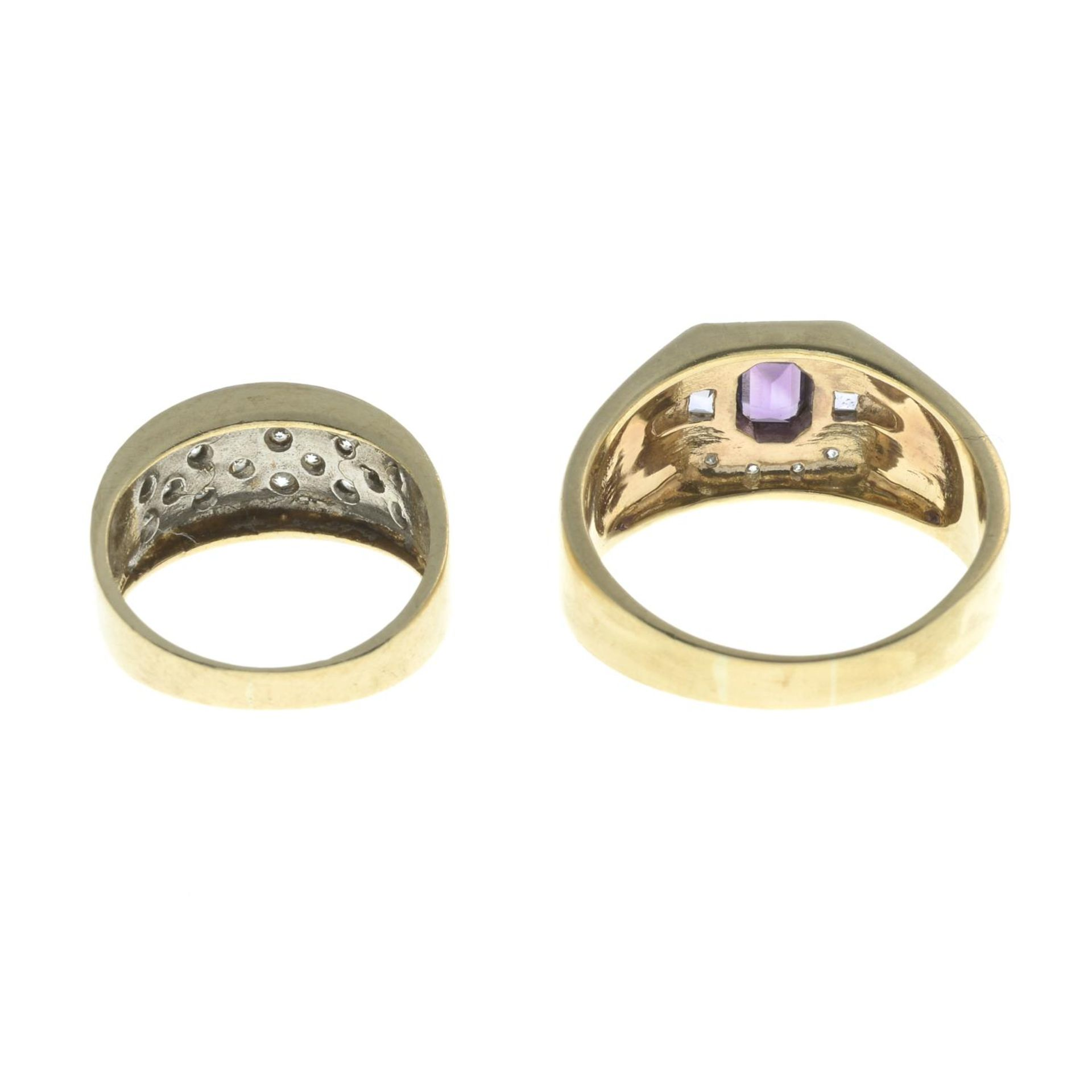 9ct gold amethyst and diamond dress ring, - Image 2 of 2