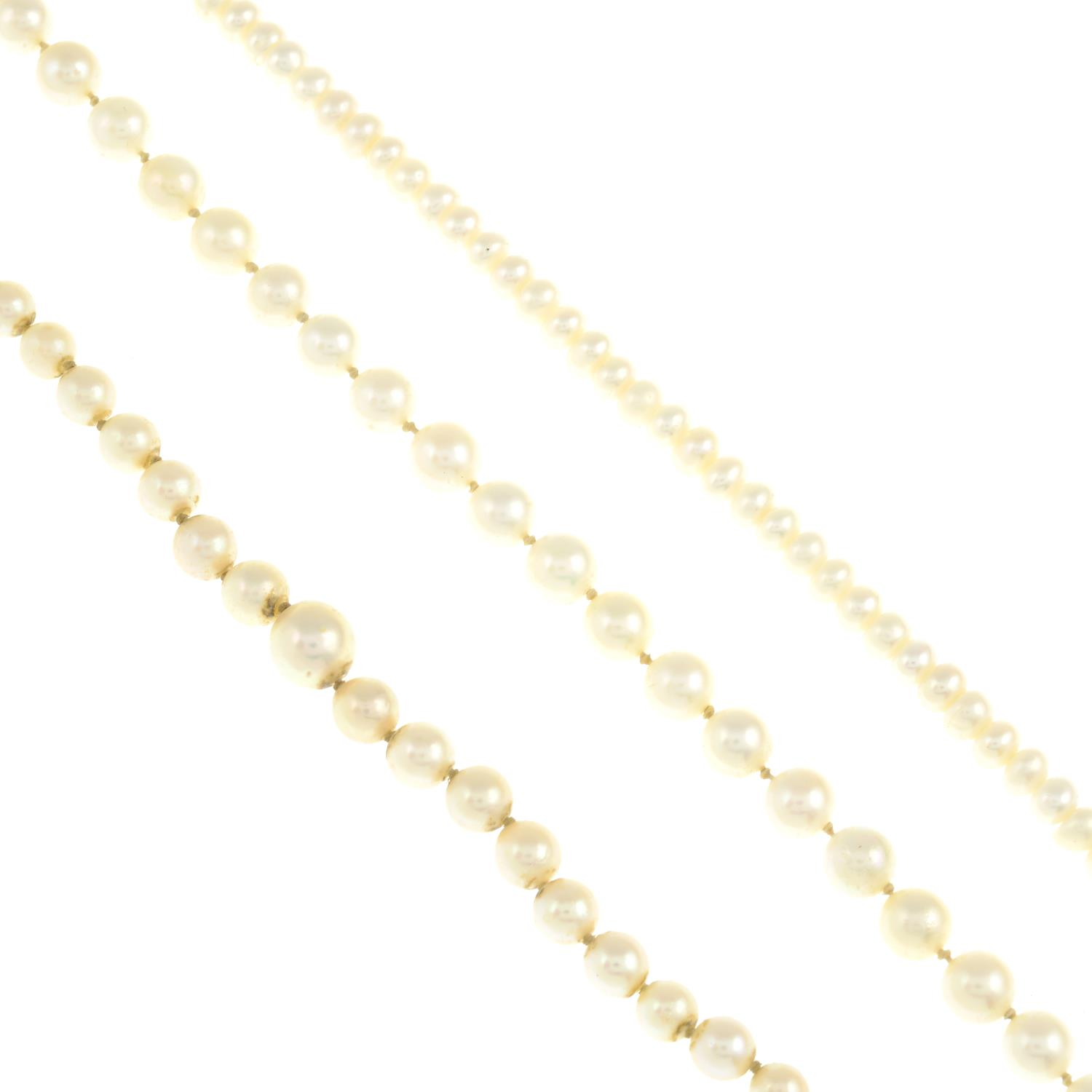 Three cultured pearl necklaces, one with marcasite clasp.