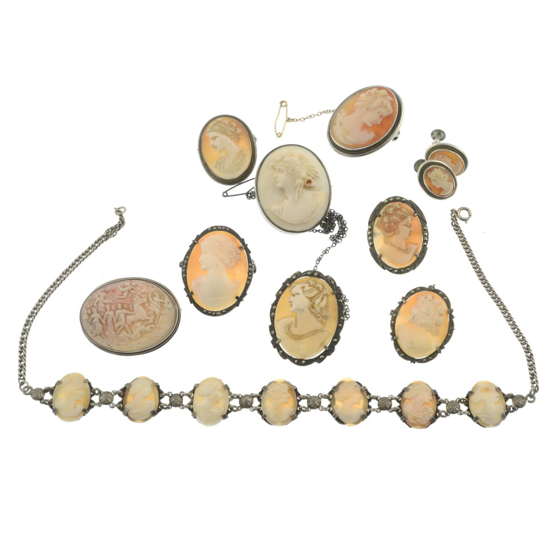 A selection of cameo jewellery, to include a silver cameo bracelet. - Image 2 of 2