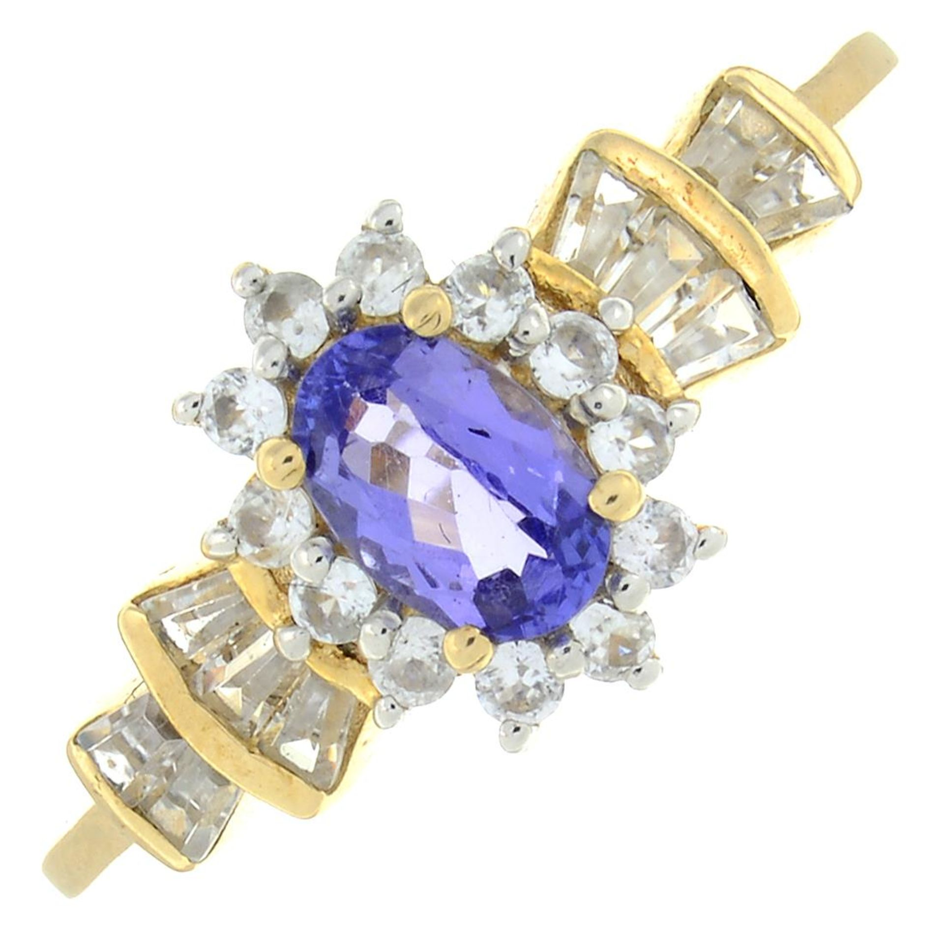 A 9ct gold tanzanite and diamond ring.Estimated total diamond weight 0.1ct.Hallmarks from