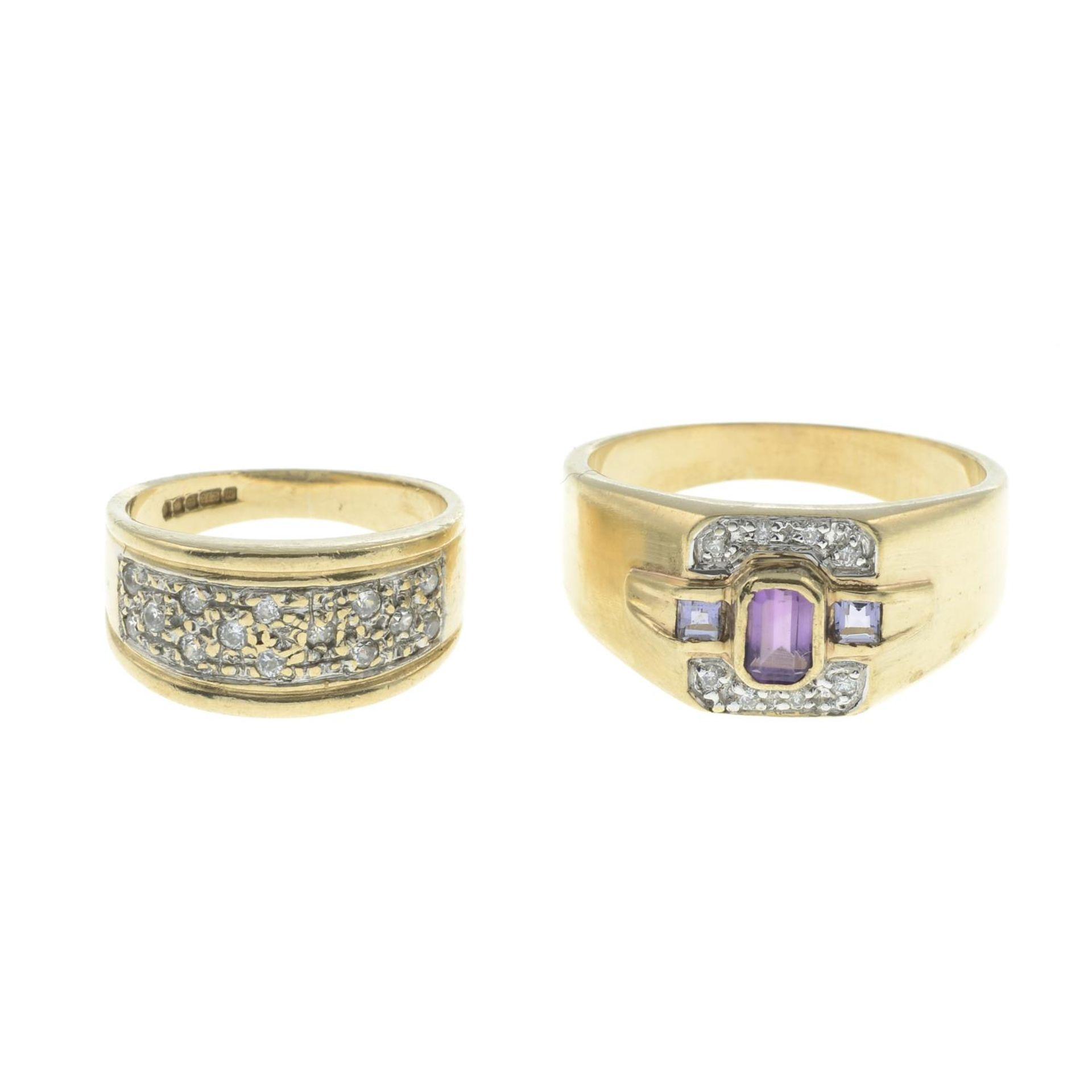 9ct gold amethyst and diamond dress ring,