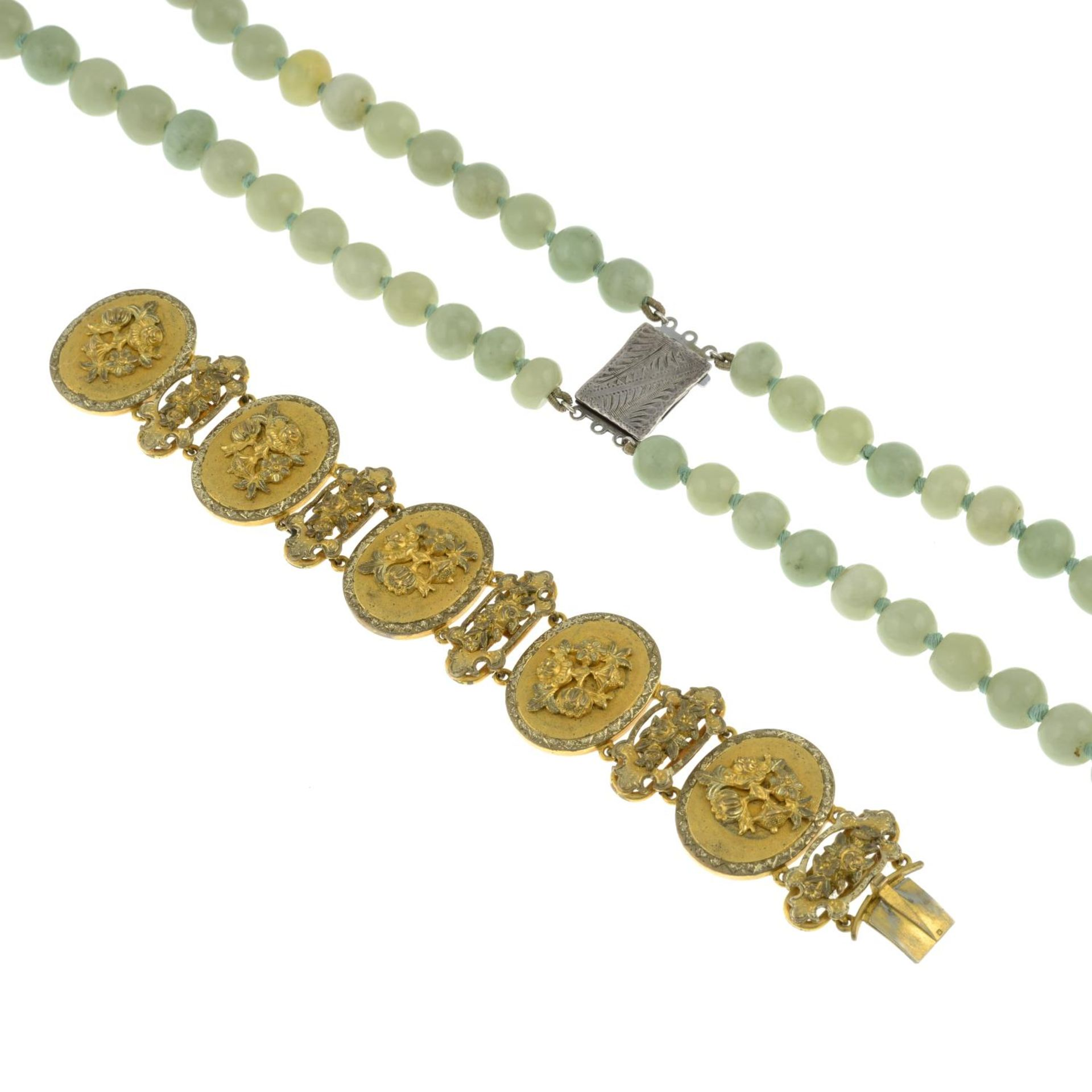 A two row jade necklace, - Image 3 of 3