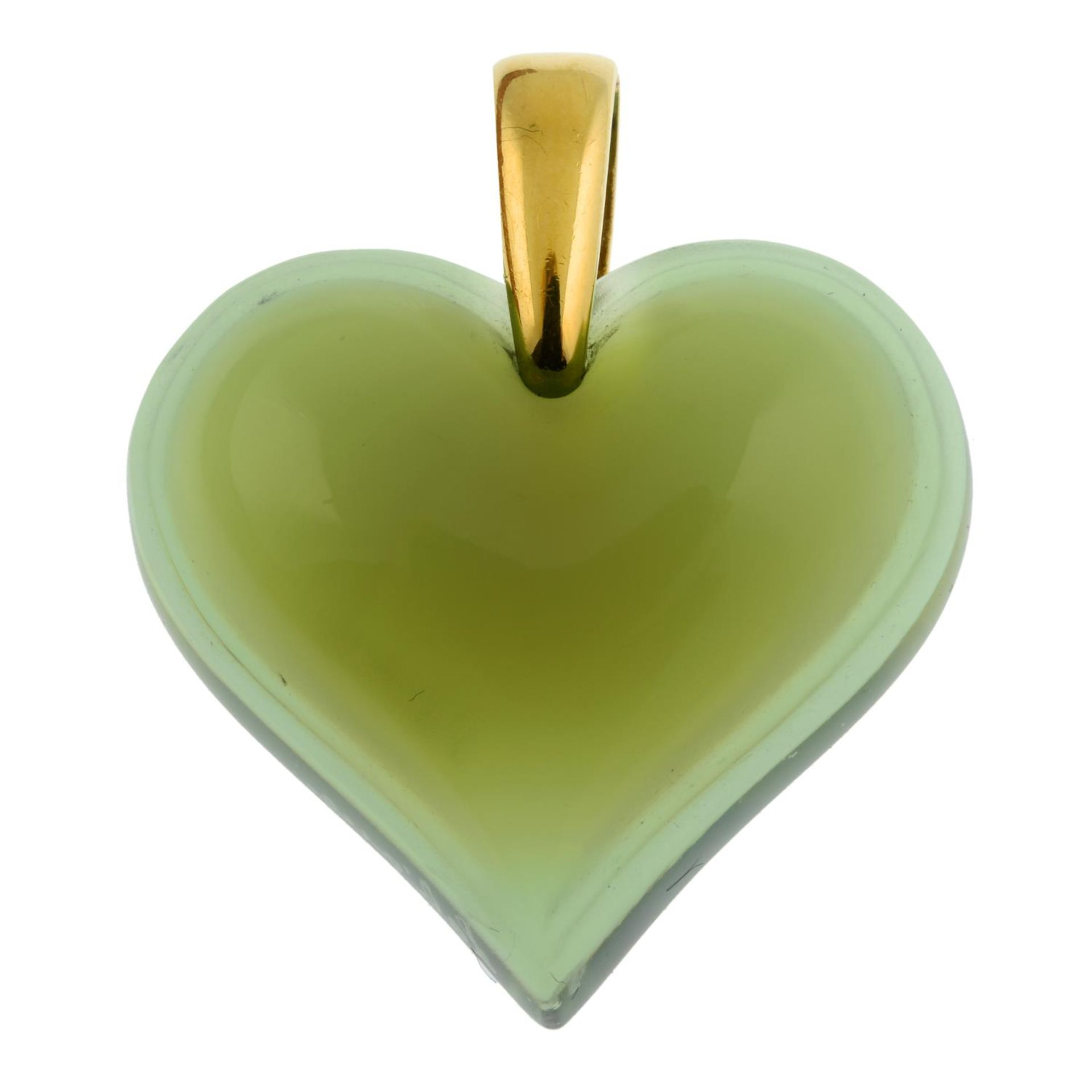 A green glass heart pendant, by Lalique.