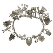 Two silver charm bracelets, a further charm bracelet and assorted charms.