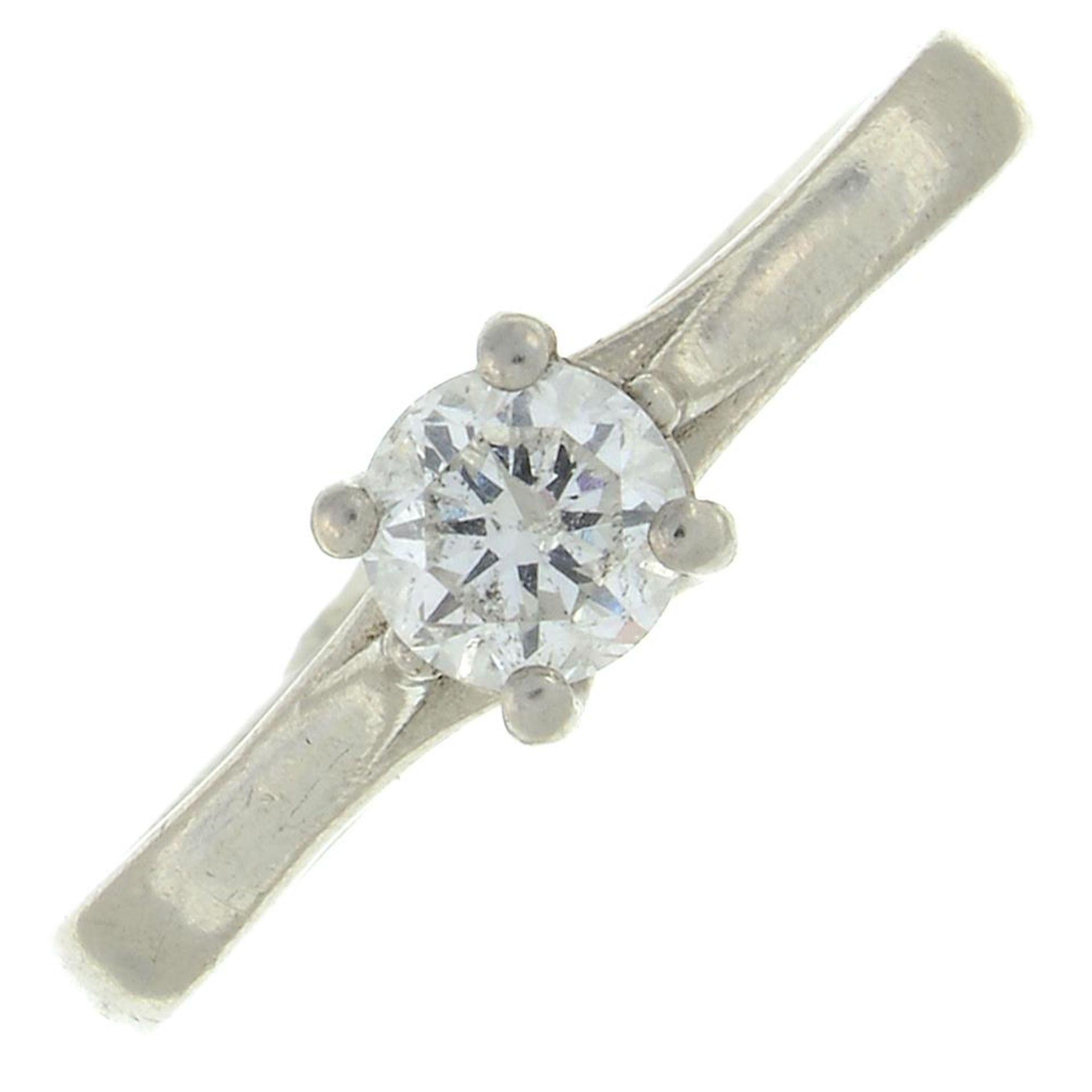 A platinum brilliant-cut diamond single-stone ring.Estimated diamond weight 0.4ct.