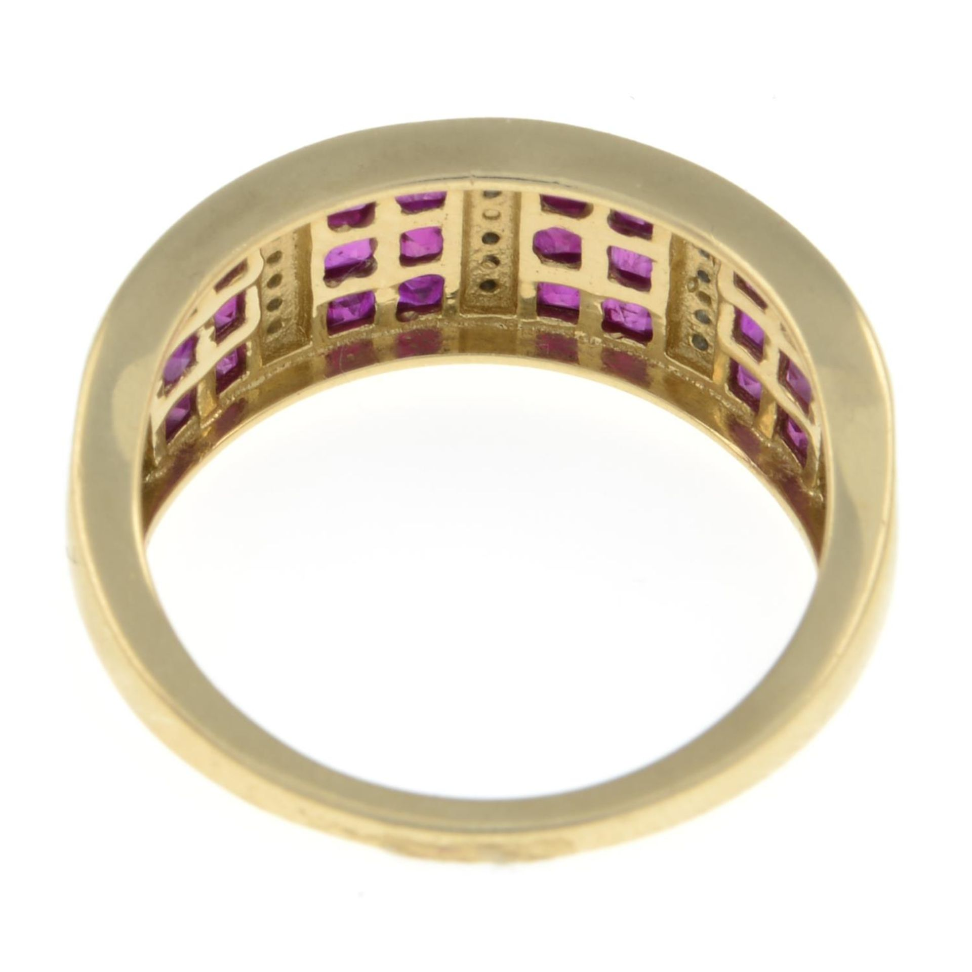 A 14ct gold ruby and diamond ring.Hallmarks for Sheffield.Ring size O. - Image 3 of 3