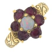 A 9ct gold ruby and opal cluster ring.Hallmarks for London.Ring size M.