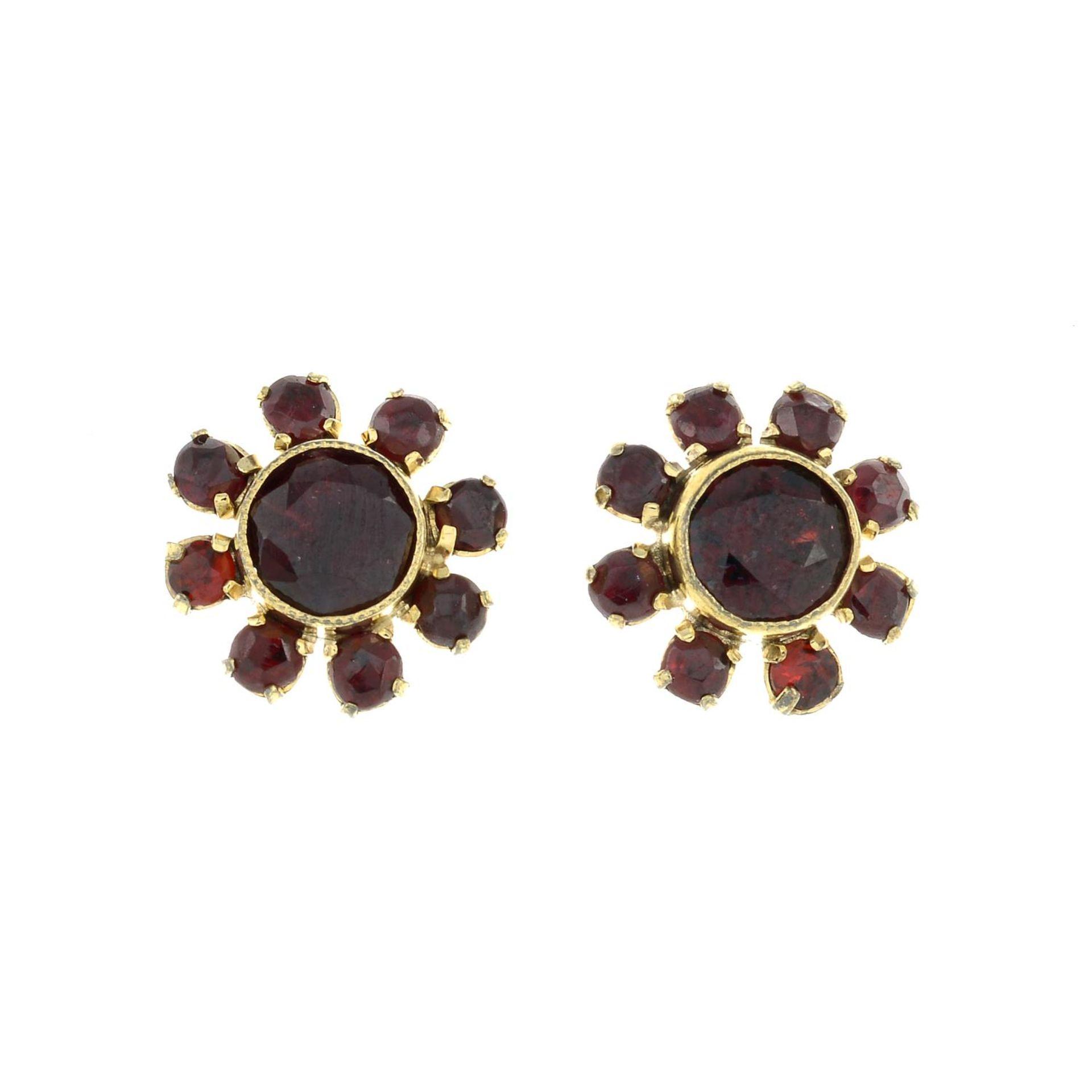 A pair of garnet cluster earrings.Length 1.1cms.