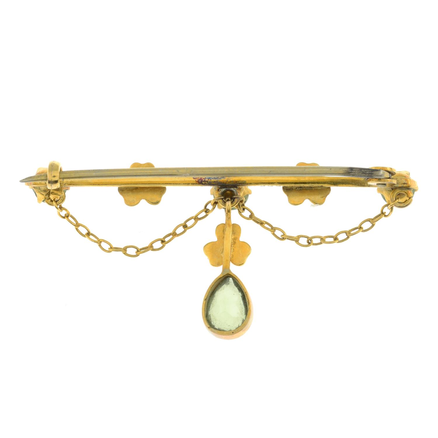 An Edwardian peridot and split pearl brooch. - Image 2 of 3
