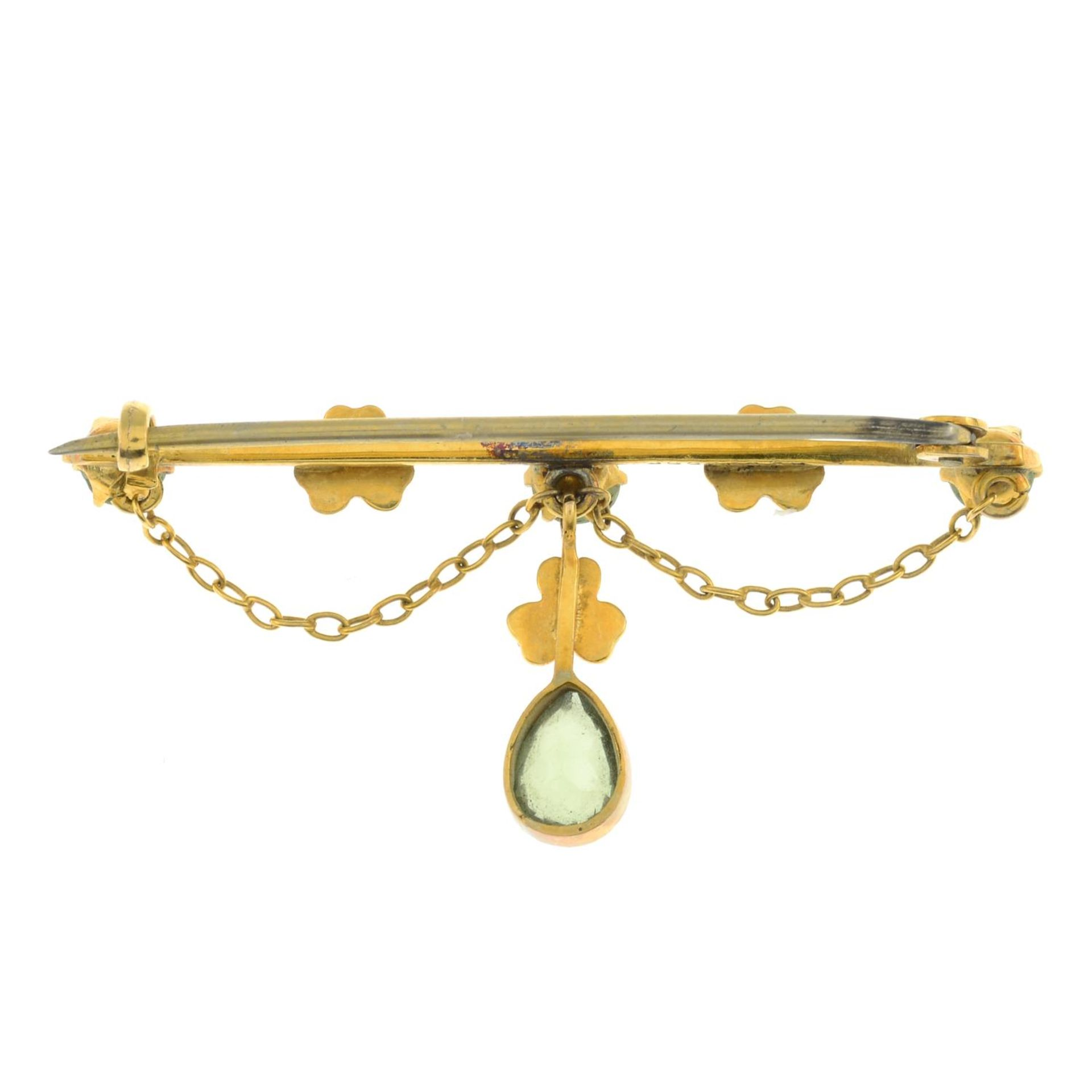 An Edwardian peridot and split pearl brooch. - Image 2 of 3