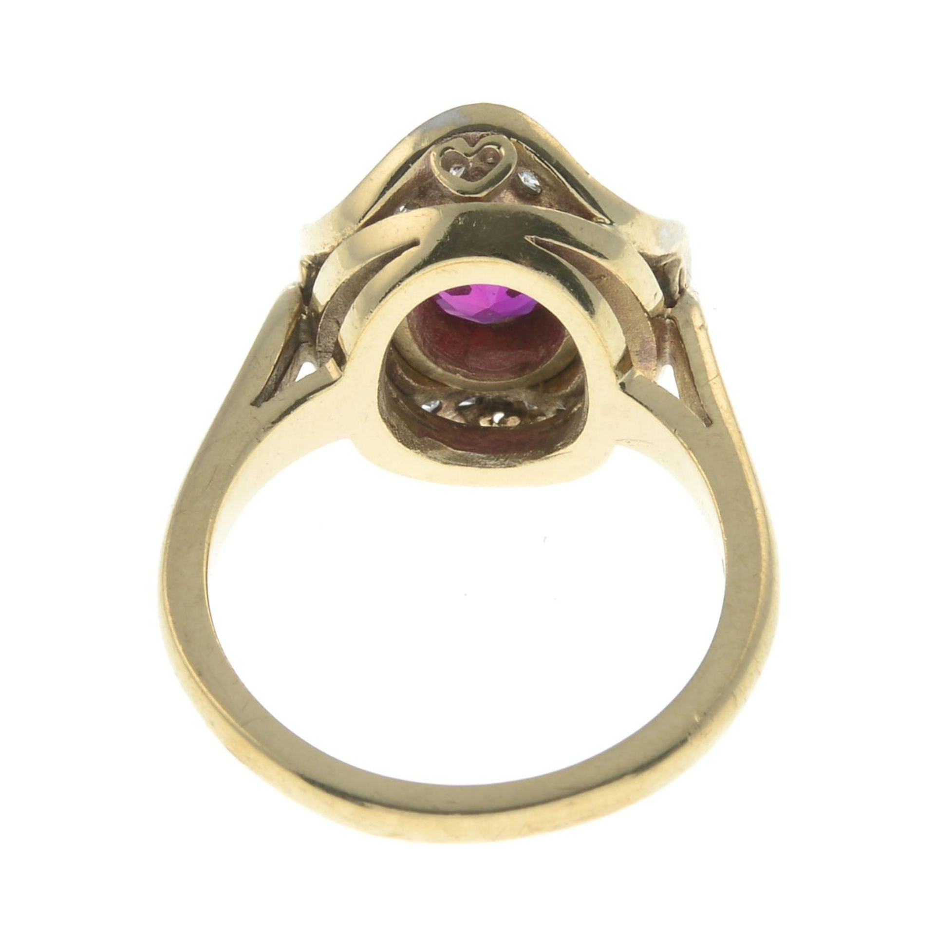 A synthetic ruby and cubic zirconia cluster ring.Stamped 9ct.Ring size N1/2. - Image 2 of 2