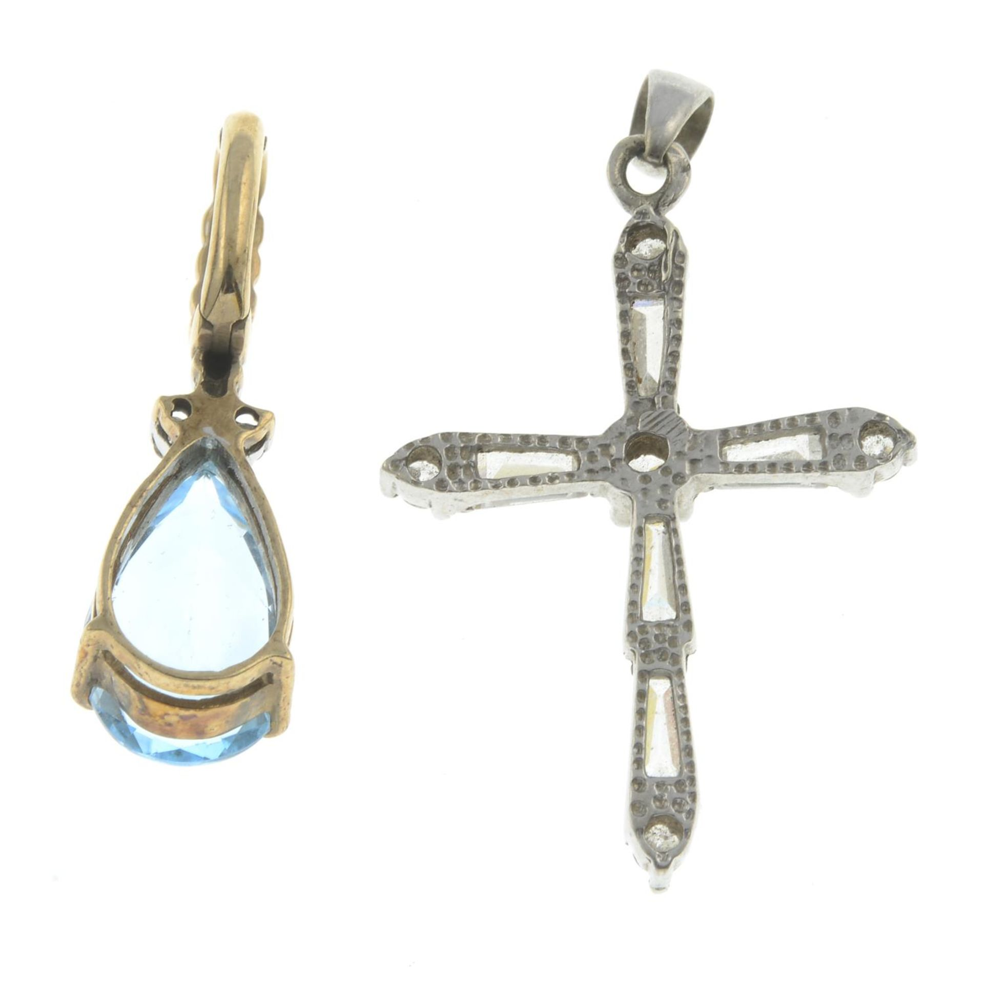 Two gem-set pendants.9ct gold topaz and diamond pendant, - Image 2 of 2