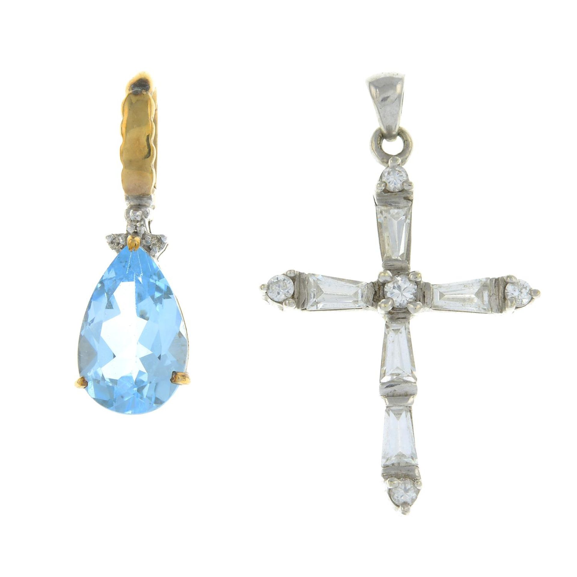 Two gem-set pendants.9ct gold topaz and diamond pendant,