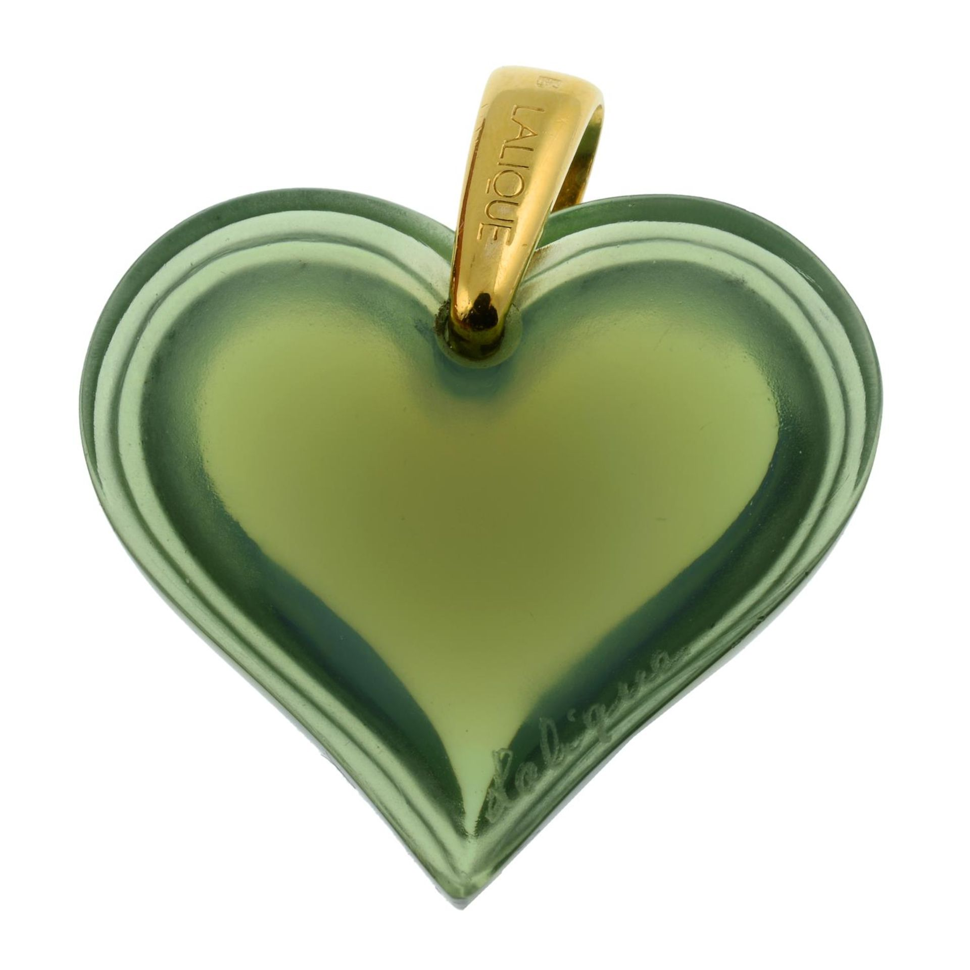 A green glass heart pendant, by Lalique. - Image 2 of 2