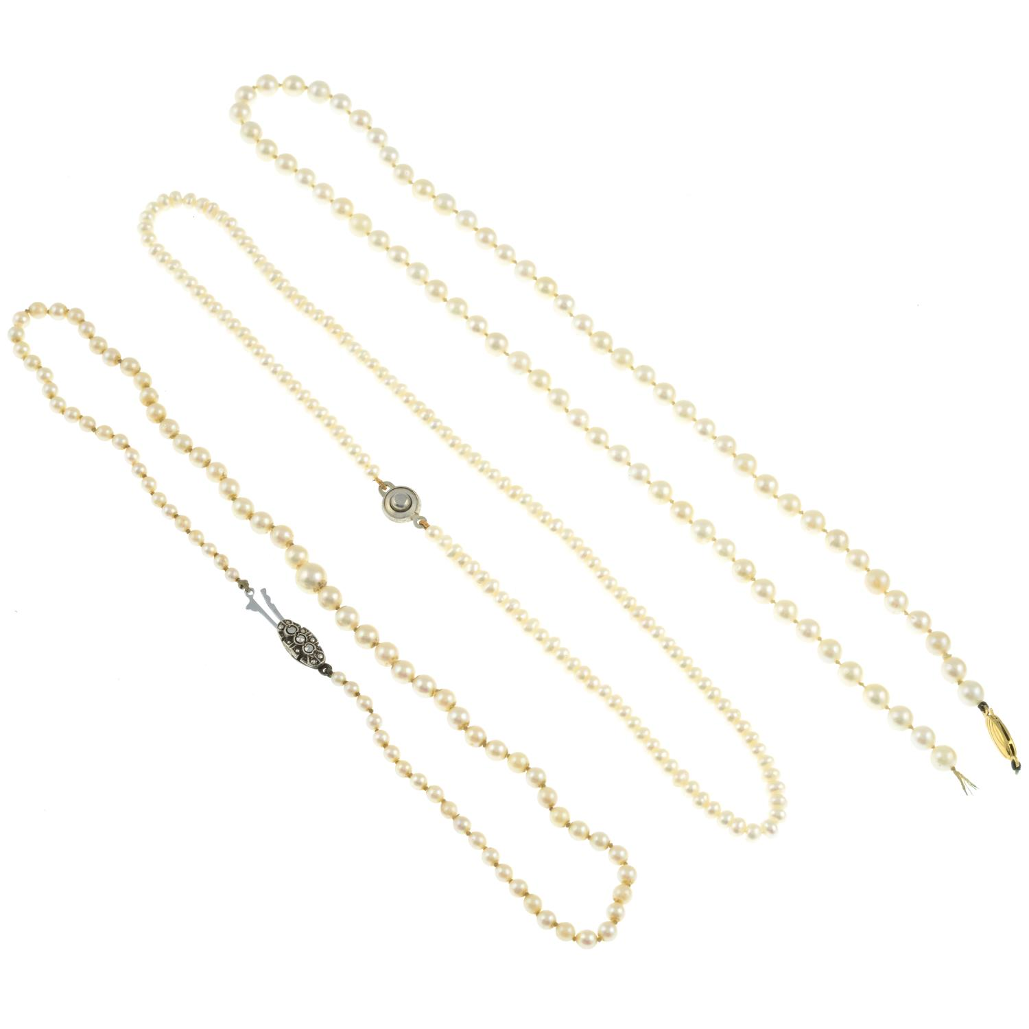 Three cultured pearl necklaces, one with marcasite clasp. - Image 3 of 3