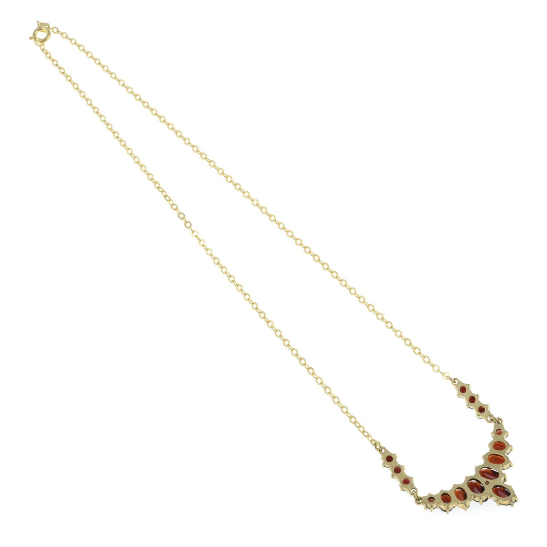 A bohemian garnet necklace. - Image 2 of 2