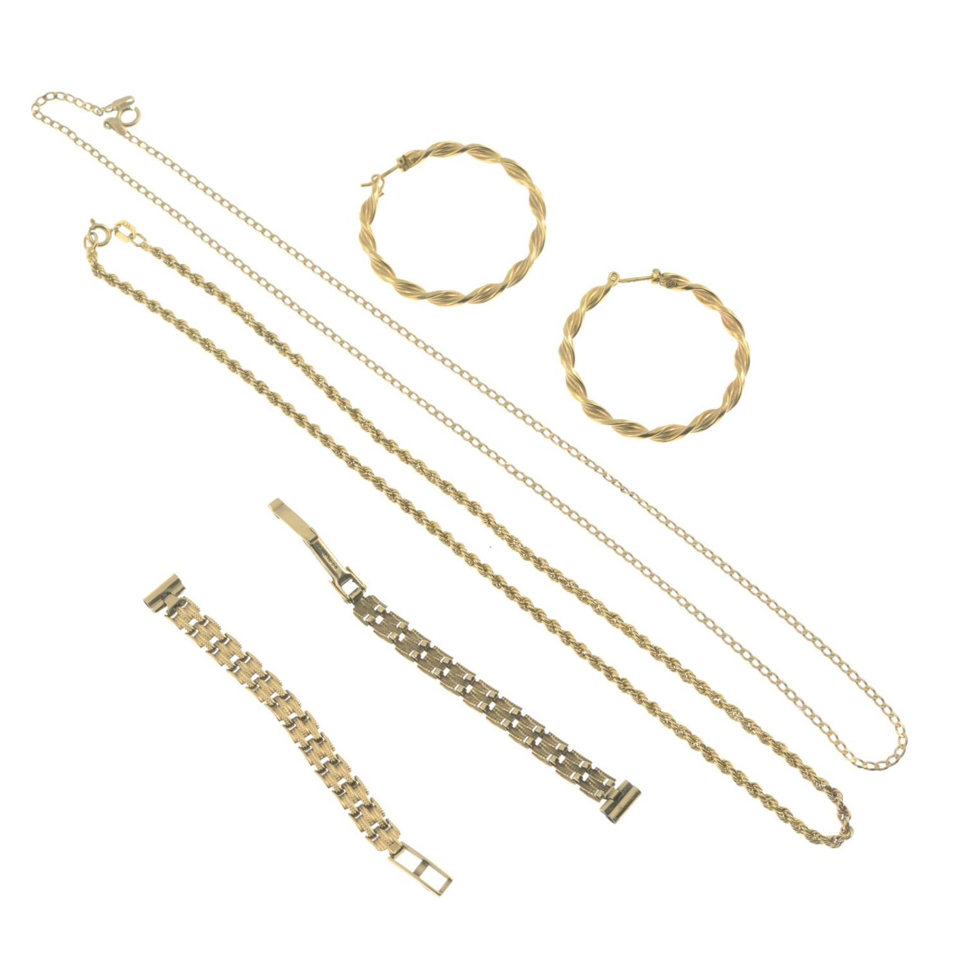 Four items of 9ct gold jewellery, - Image 2 of 2