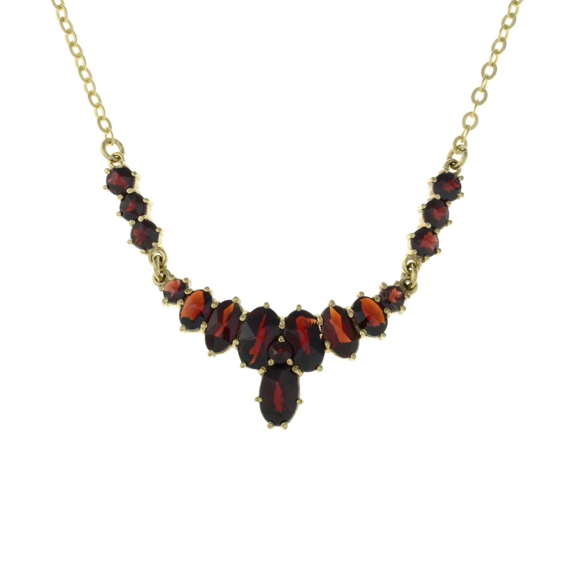 A bohemian garnet necklace.