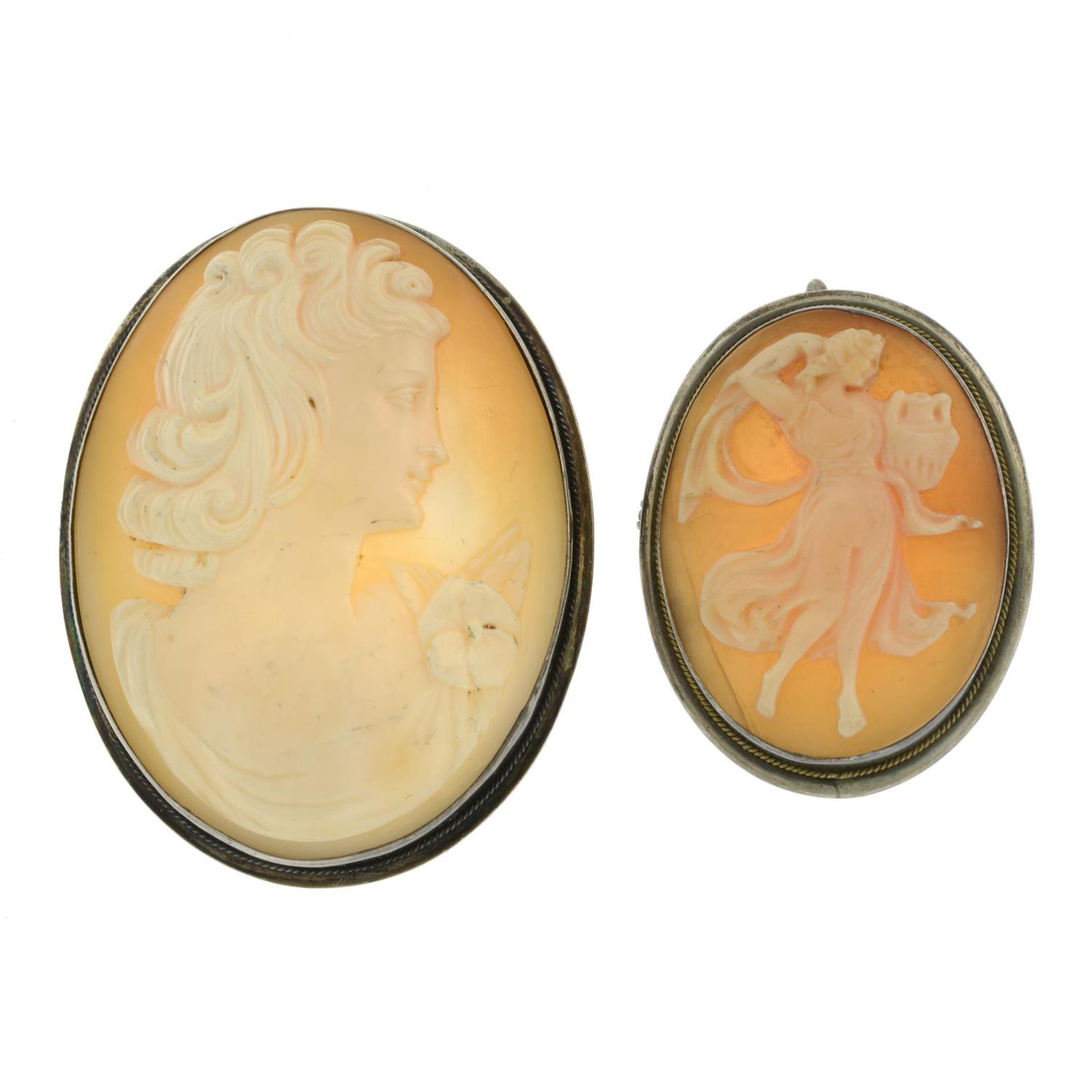 A selection of cameo jewellery, to include a silver cameo bracelet.