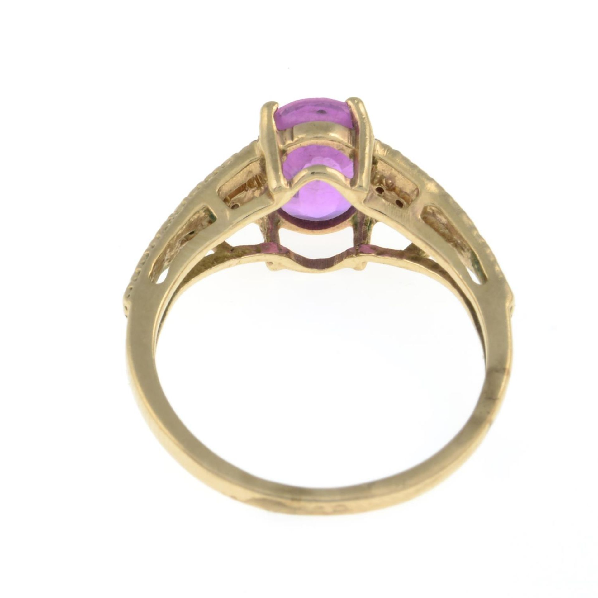 A 9ct gold pink sapphire and diamond ring.Hallmarks for Birmingham.Ring size I. - Image 3 of 3
