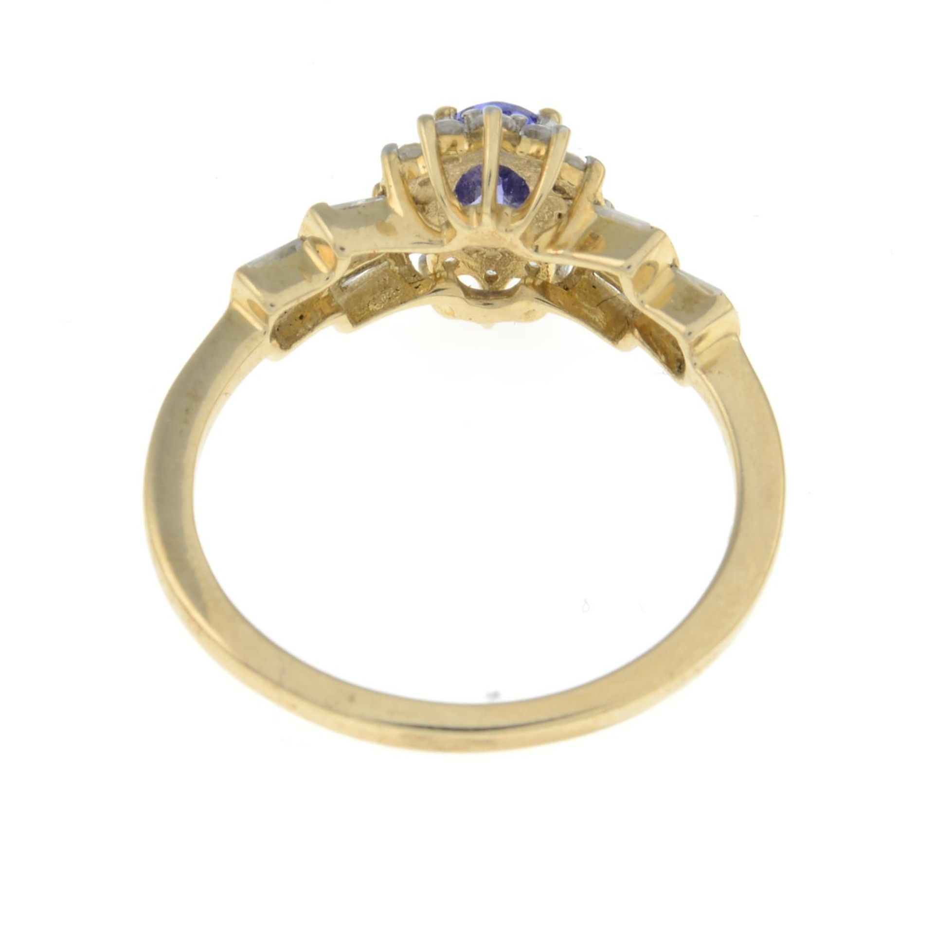 A 9ct gold tanzanite and diamond ring.Estimated total diamond weight 0.1ct.Hallmarks from - Image 3 of 3