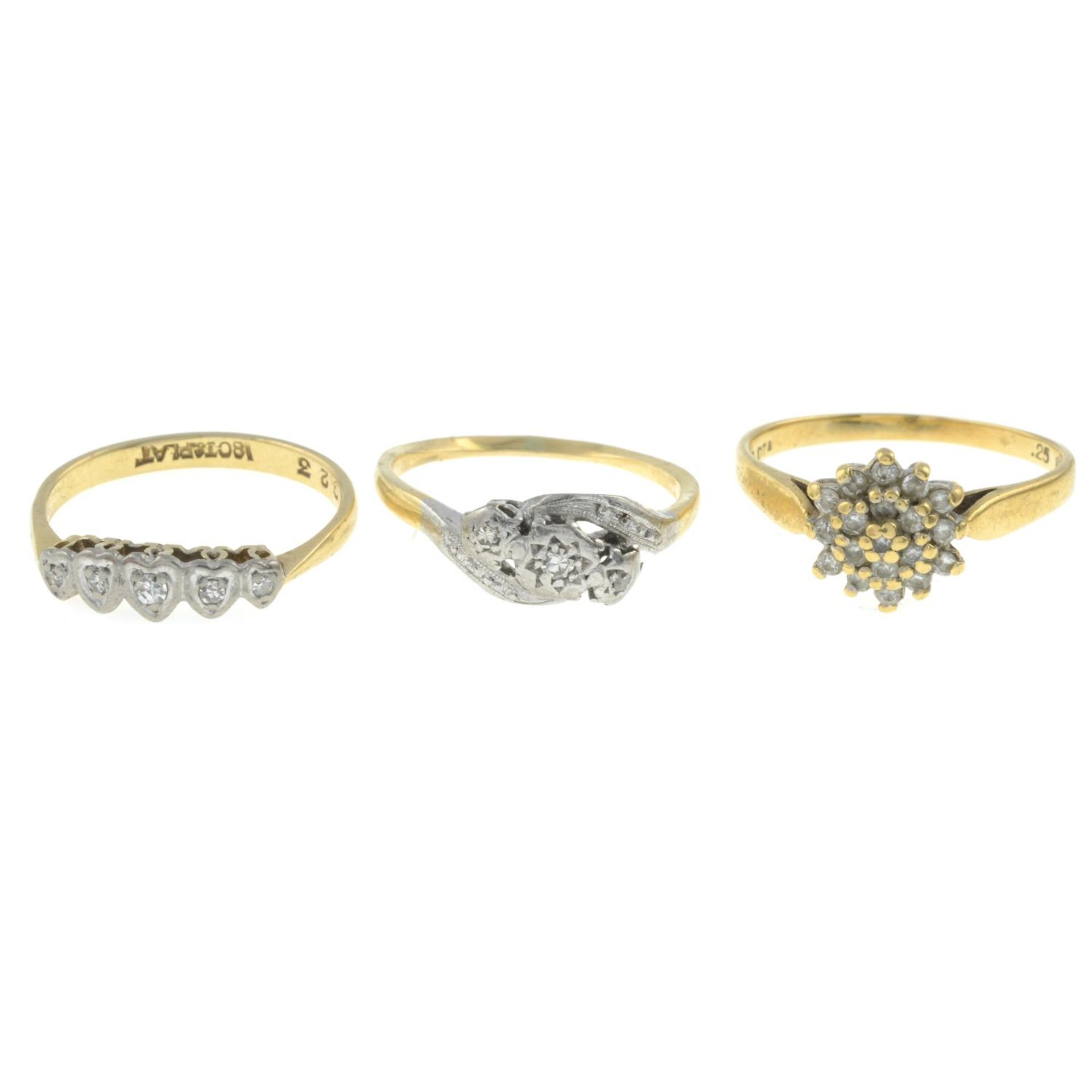 Three diamond rings.18ct gold diamond cluster ring,