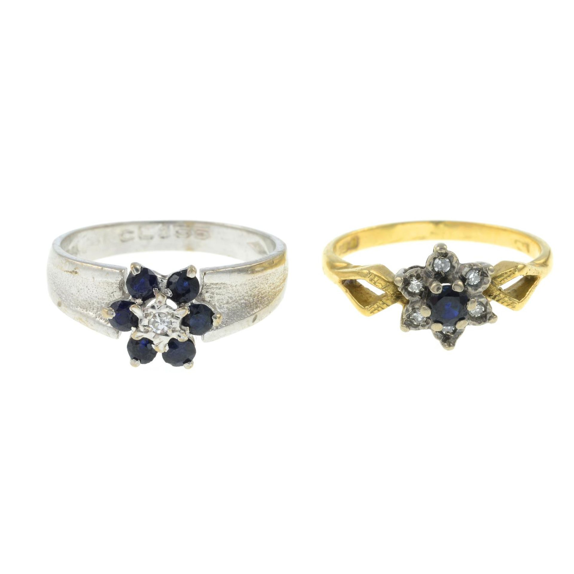 Two 18ct gold sapphire and diamond rings.18ct gold diamond and sapphire cluster ring,