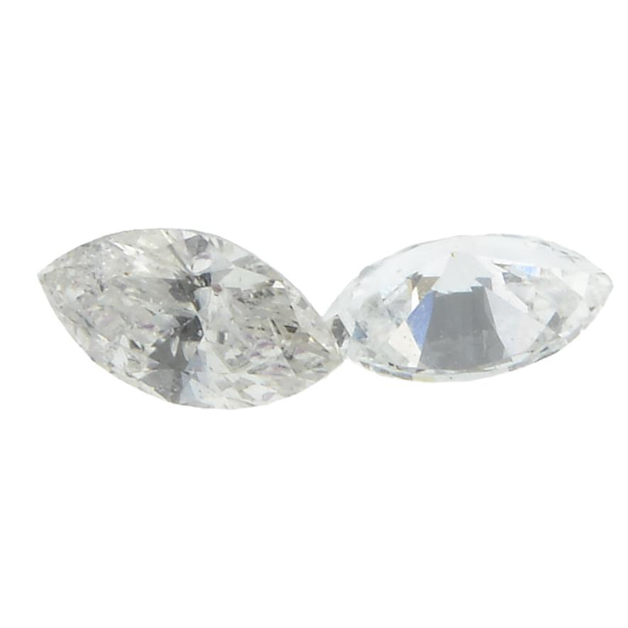 Six marquise shape diamonds weighing 0.34ct PLEASE NOTE THIS LOT WILL CARRY VAT AT 20% ON THE
