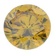 A brilliant-cut natural Fancy Vivid Orangy Yellow diamond.