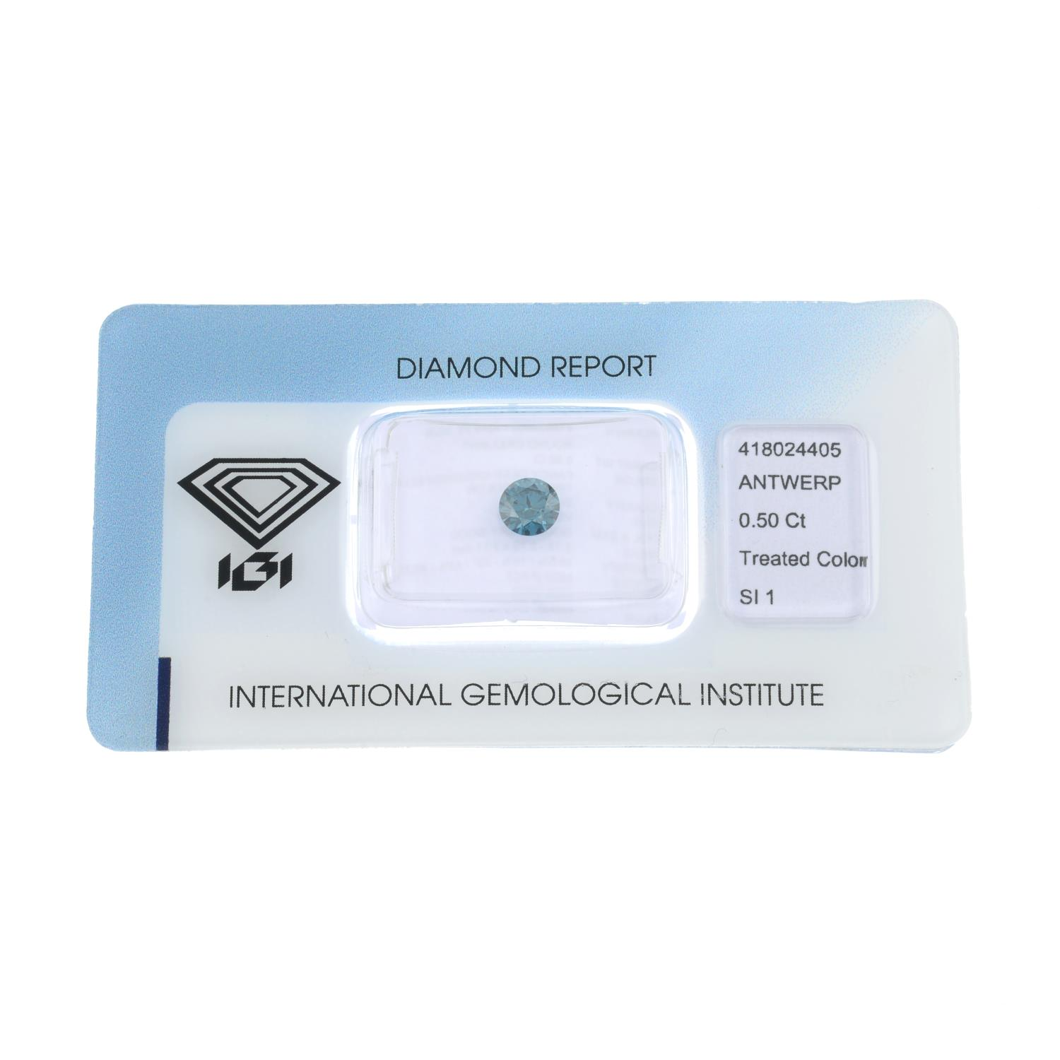 A brilliant cut blue diamond weighing 0.50ct within security seal.
