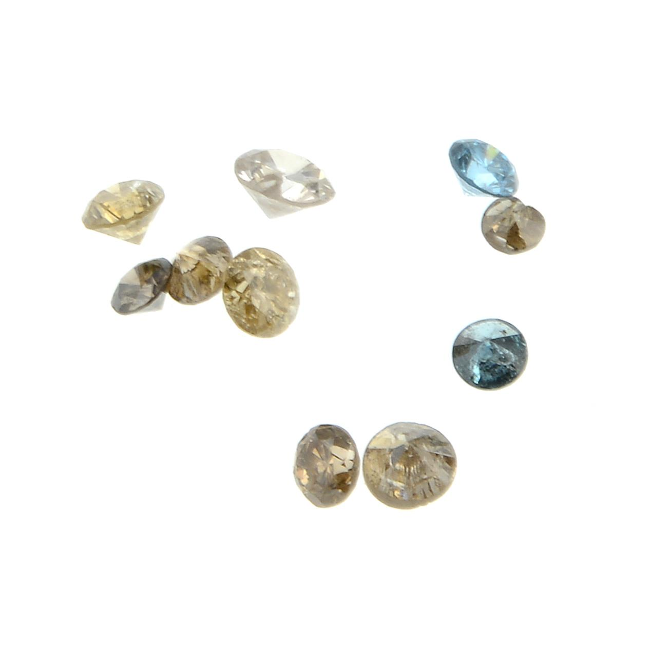 A selection of vari-colour diamonds, total weight 0.39ct.