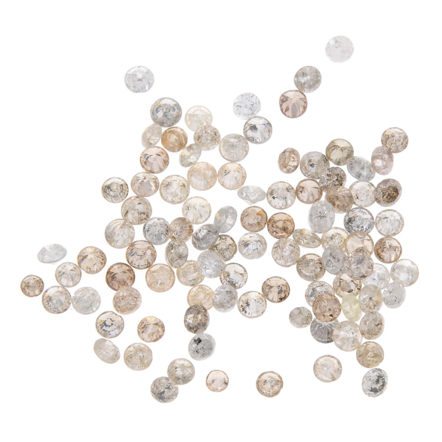 A small selection of round brilliant-cut diamonds and 'brown' melee diamonds.
