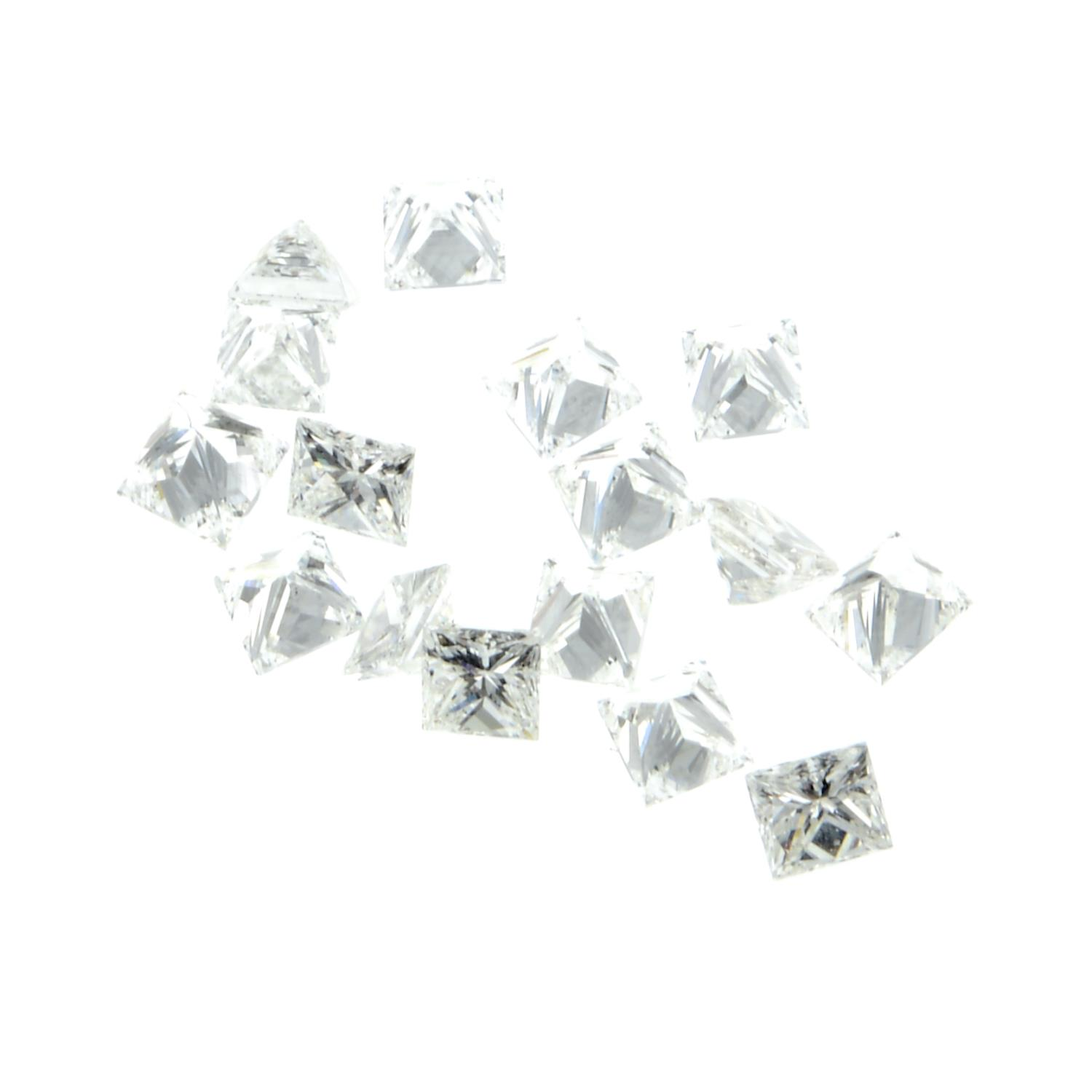 A selection of square-cut loose diamonds. - Image 2 of 2