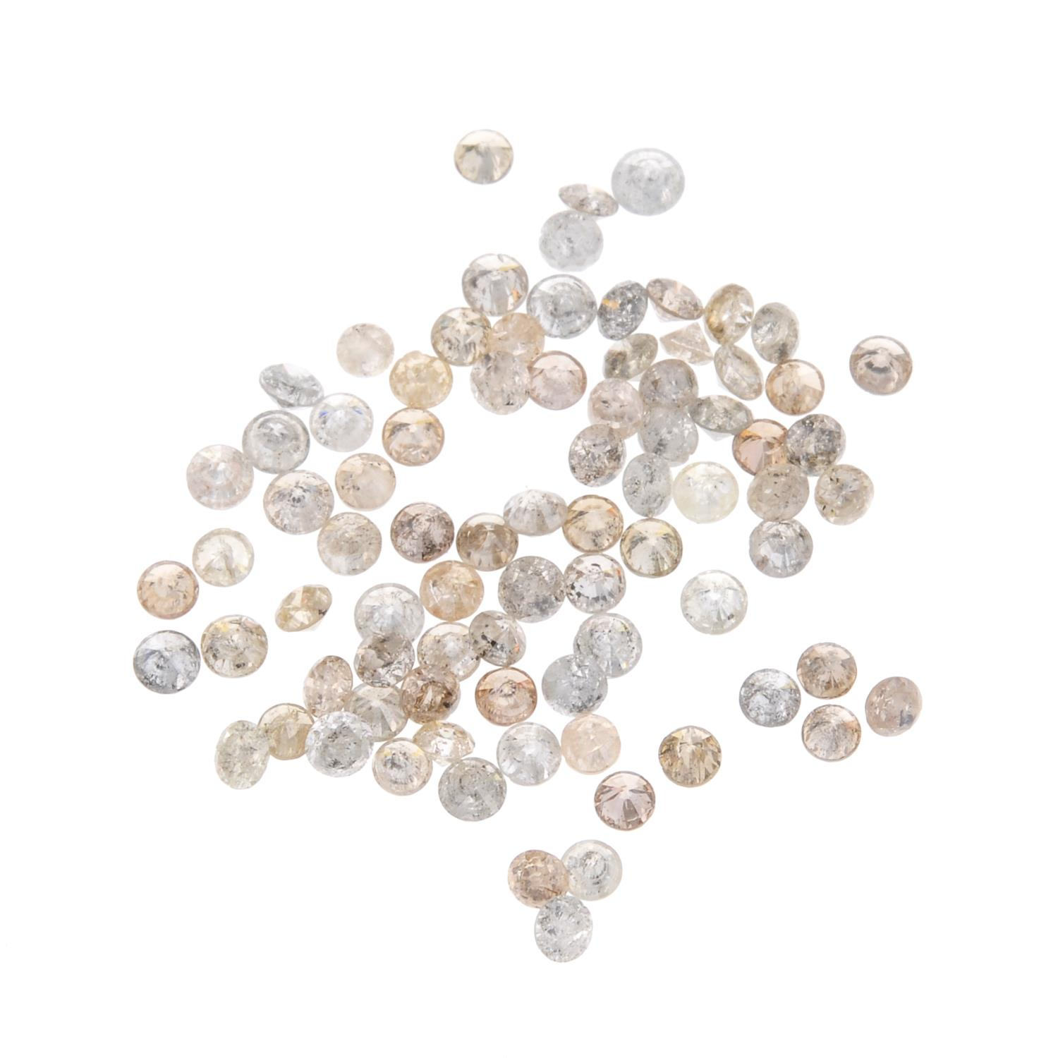 A small selection of round brilliant-cut melee diamonds and 'brown' melee diamonds.