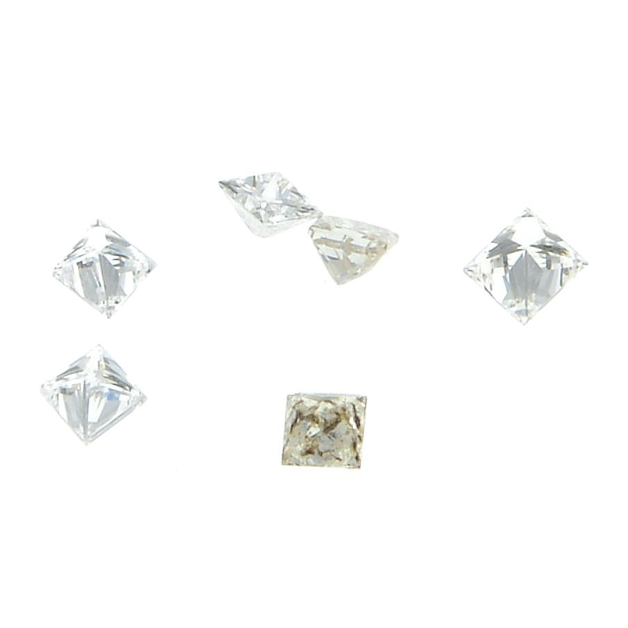 Nine square shape diamonds weighing 0.23ct PLEASE NOTE THIS LOT WILL CARRY VAT AT 20% ON THE - Image 2 of 2